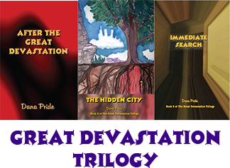 Book covers: After the Great Devastation, The Hidden City, Immediate Search